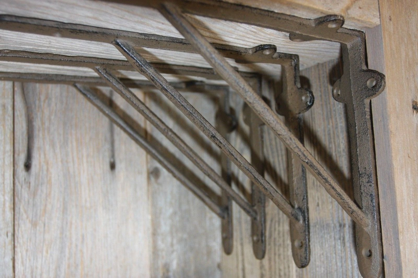 Rustic Farmhouse Open Shelving Shelf Brackets Solid Cast Iron 9 inches, Set of 4