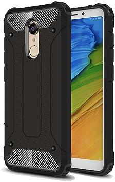 Xiaomi Redmi 5 Plus Funda, SMTR PU&PC Ultra Silm Híbrida Rugged Armor Case Choque Absorción Protección Dual Layer Bumper para Xiaomi Redmi 5 Plus ,Negro: Amazon.es: Electrónica
