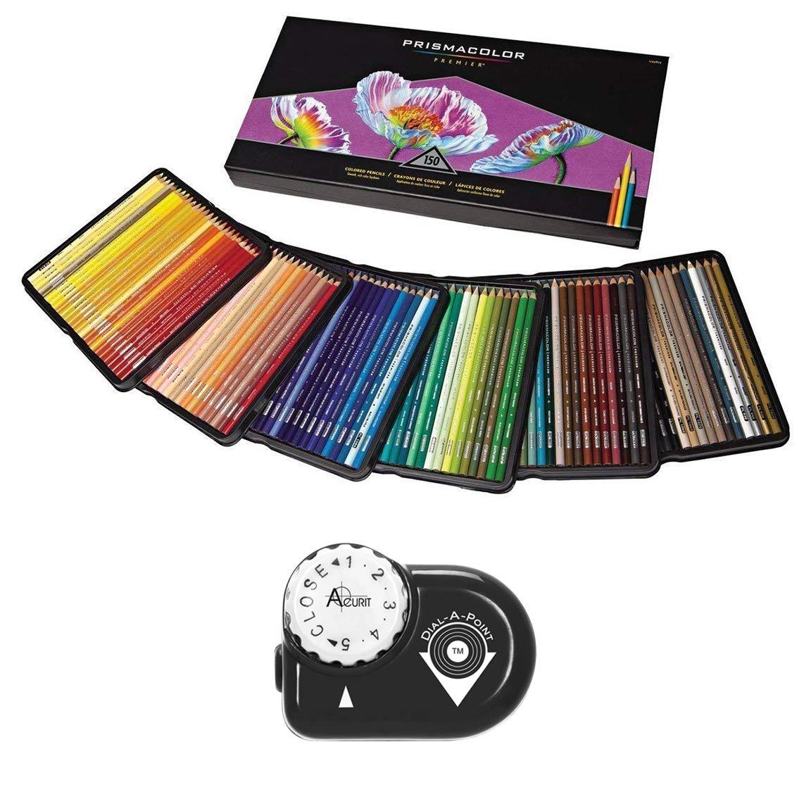 Prismacolor Colored Pencils Art Kit - Artist Premier Wooden Soft Core Pencils 150 ct. With Acurit Dial-a-Point Pencil Sharpener [151 pc. Set] by Prisamcolor
