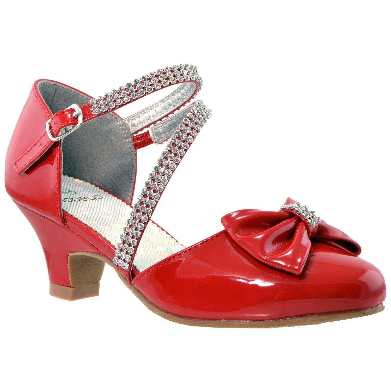 SOBEYO Girls Dress Shoes Rhinestone Bow Accent Kitten Low Heel Sandals