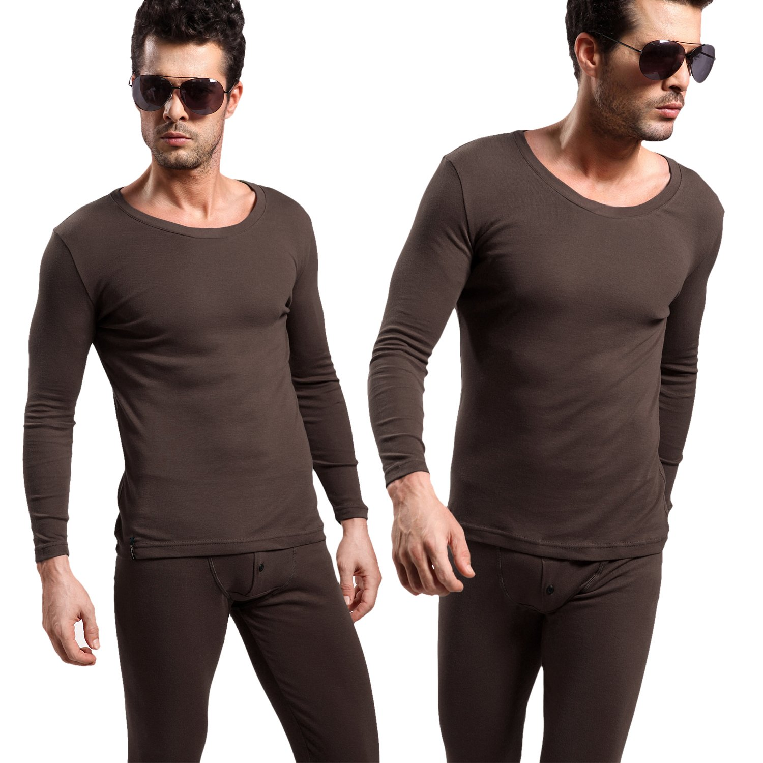 Godsen Men's 2 Piece Long Johns Cotton Thermal Underwear Set Coffee XS-XL 8521801