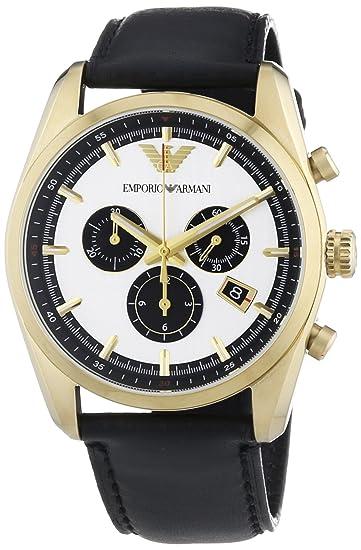 Emporio Armani AR6006 - Reloj de cuarzo para hombre, correa de cuero color negro: Amazon.es: Relojes