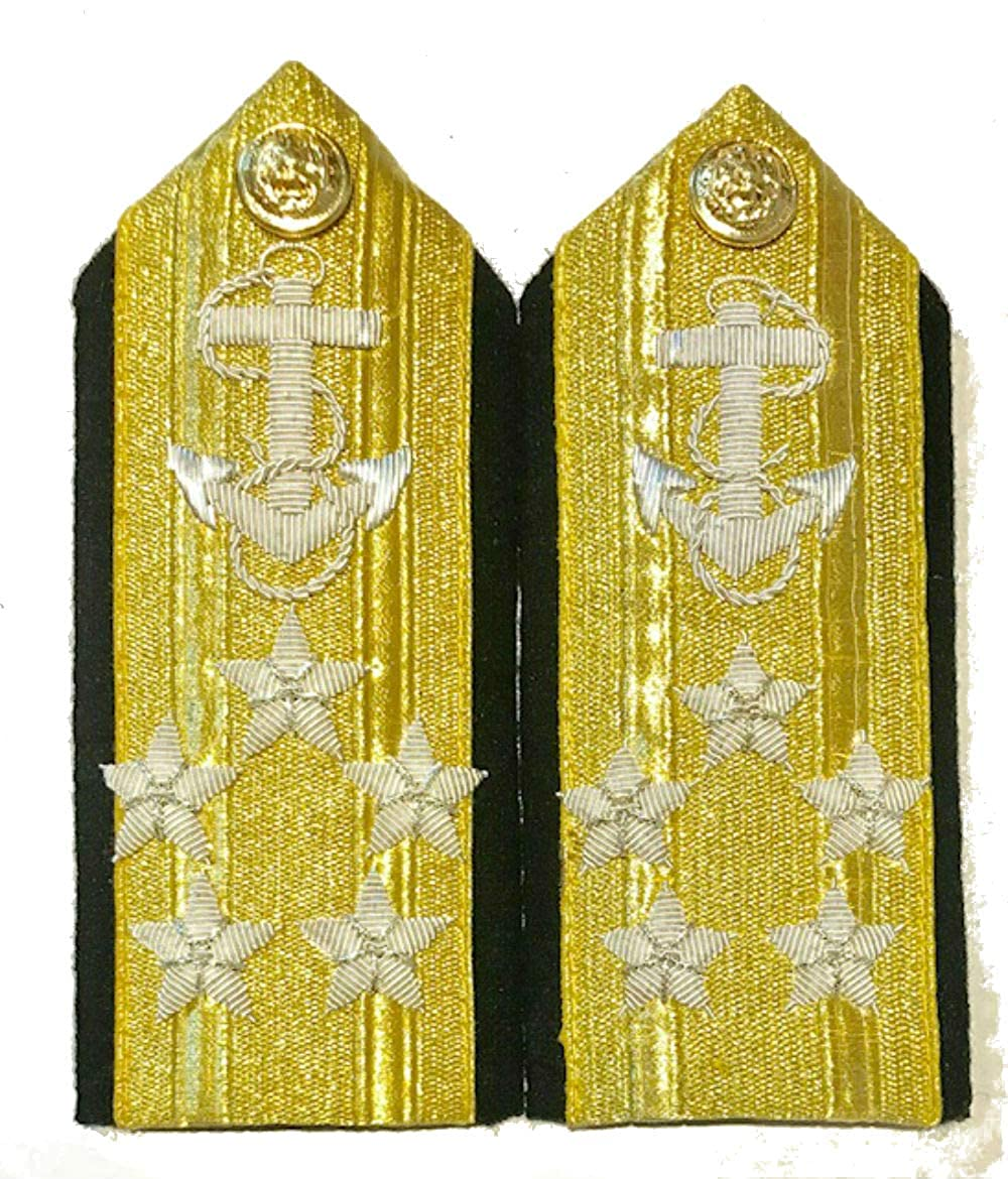 NEW US NAVY HARD SHOULDER BOARDS 1 STARS MALE LINE REAR ADMIRAL (LOWER DECK) RANK Hi Quality CP MADE PAIR