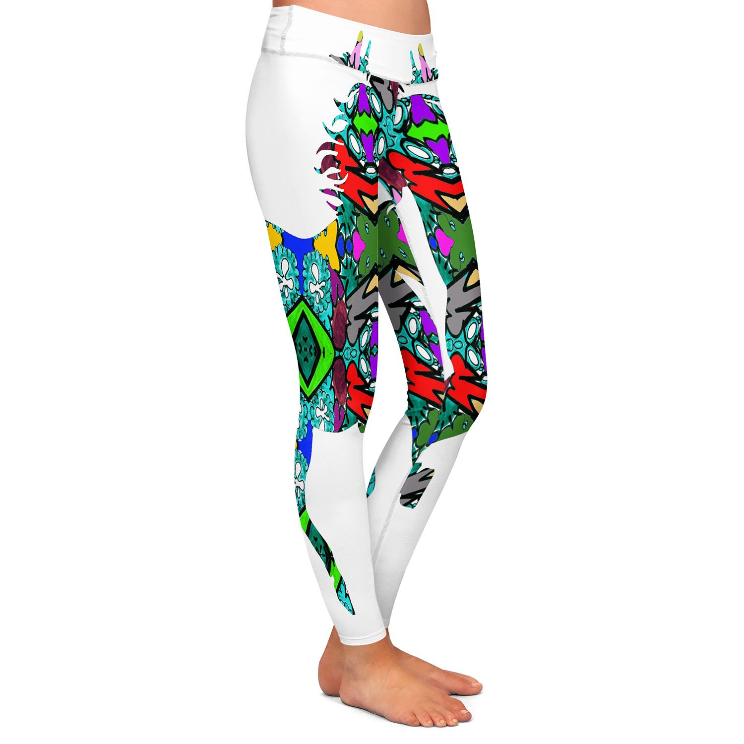 Horse Rainbow 1 Athletic Yoga Leggings from DiaNoche Designs by Susie Kunzelman