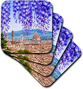 3D Rose City Center of Florence - Firenze - UNESCO - Tuscany - Italy Soft Coasters, Multicolor