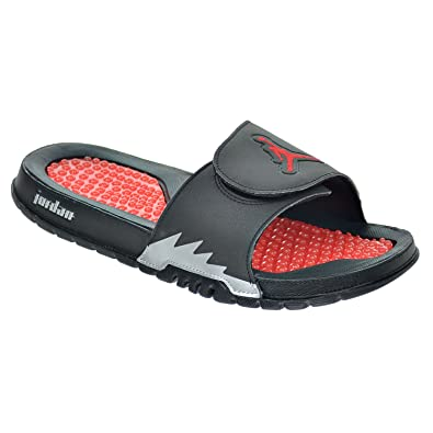0ff97a20fd51 Jordan Hydro V Retro Men s Sandals Black Fire Red Metallic Silver 555501-012