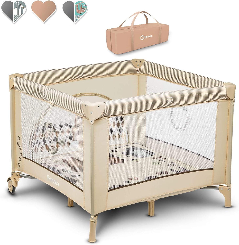 Lionelo Sofie - Parque infantil para bebé, cuna de viaje, desde el nacimiento hasta 15 kg, bolsa de transporte, mosquitera (beige)
