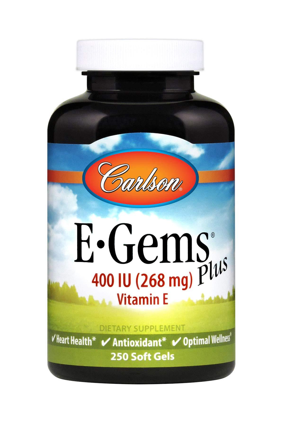Carlson E-Gems Plus 400 IU, Vitamin E, Heart Health, 250 Soft Gels
