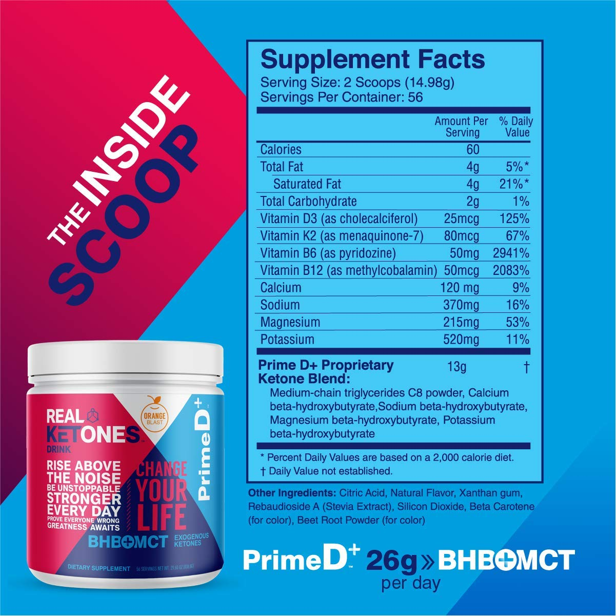 Real Ketones Prime D+ BHB (Beta-Hydroxybuterate) and MCT Exogenous Ketone Powder Supports Ketogenic Diet, Energy Boost, Mental Clarity (Orange Blast) (56 Serving) by KEGENIX (Image #2)