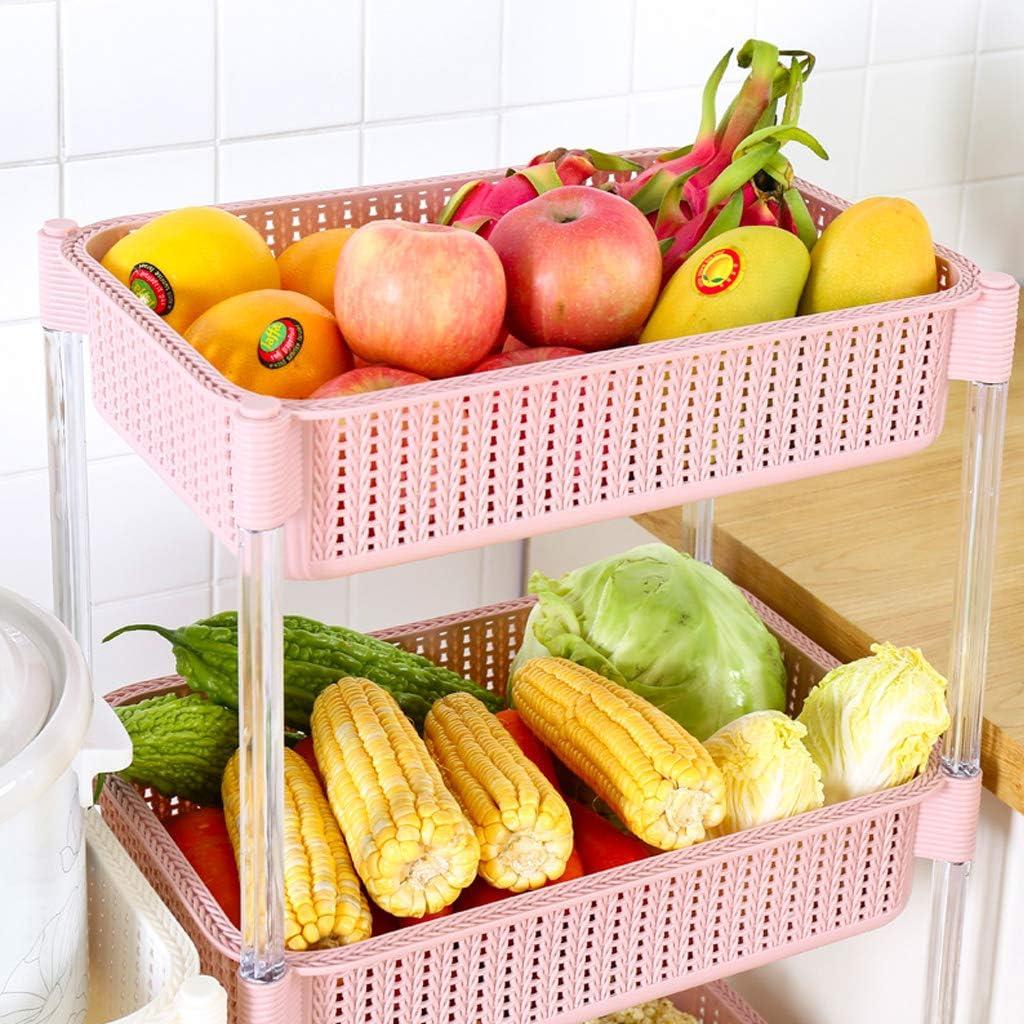 marr/ón Verde SuoANI Carro de Almacenamiento de Cocina con Canasta y Rueda Estante de Frutas y Verduras-Pl/ástico Pesado-Blanco Rosa