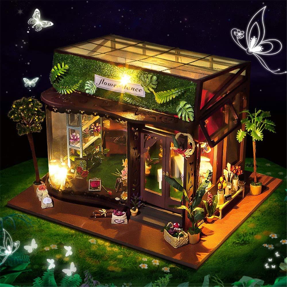 Casa de muñecas en miniatura casa de bricolaje, Kits de artesanía de invernadero 3D en casa Diy House en miniatura para adultos - Casa de muñecas de madera con muebles y accesorios, Juguetes educativo