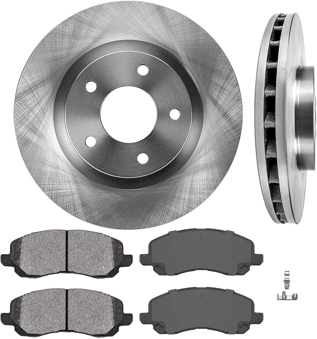 FRONT Premium Grade OE Brake Rotors + Metallic Brake Pads