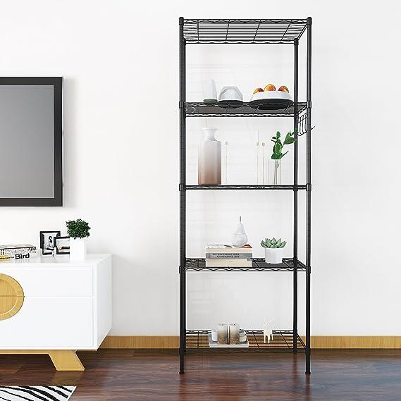 Homdox Standregale 6 Ablage Küchenregal Metallregal mit Seitenhaken ...