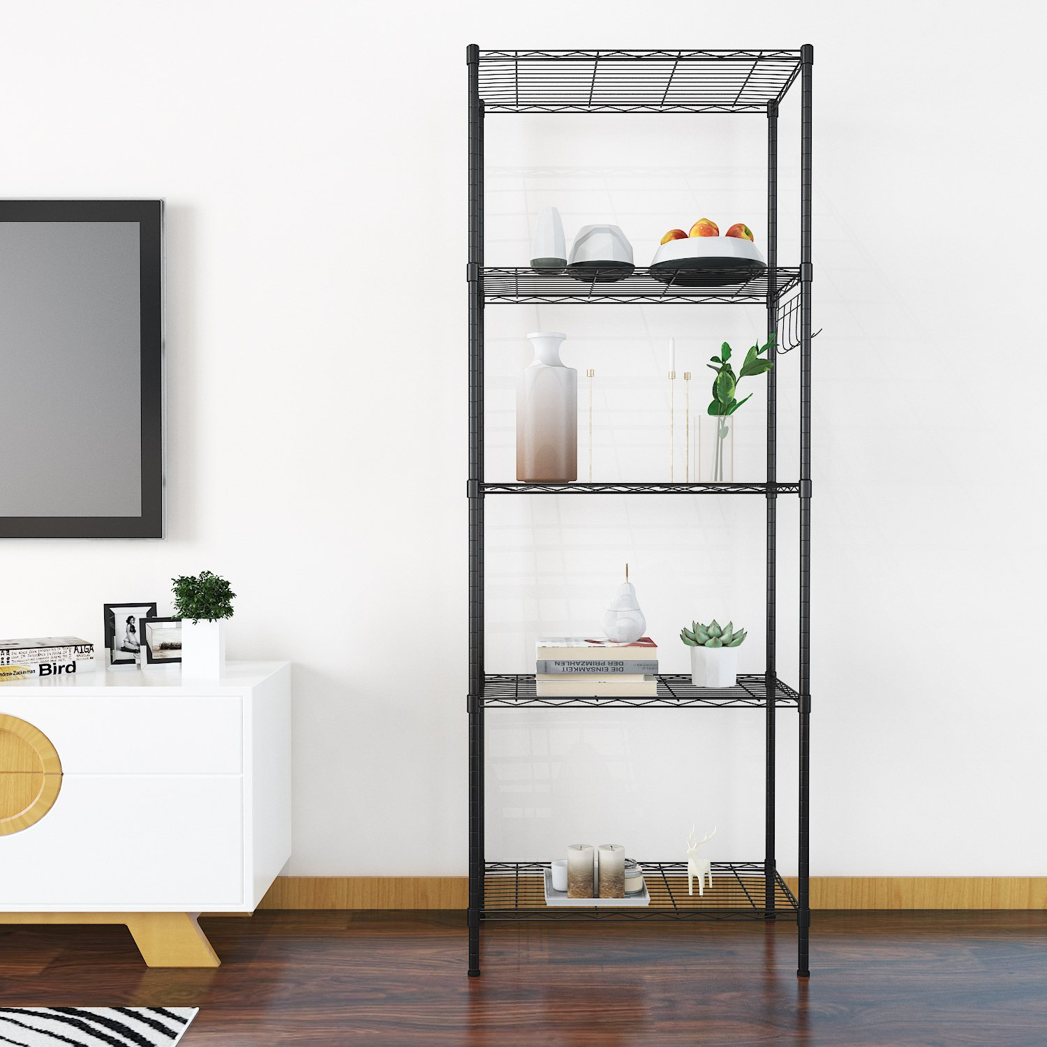 Anfan 5-Tier Kitchen Wire Shelving Unit 5-Shelf Storage Organizer Rack Adjustable Height with Side Hooks (5-Tier, Black)