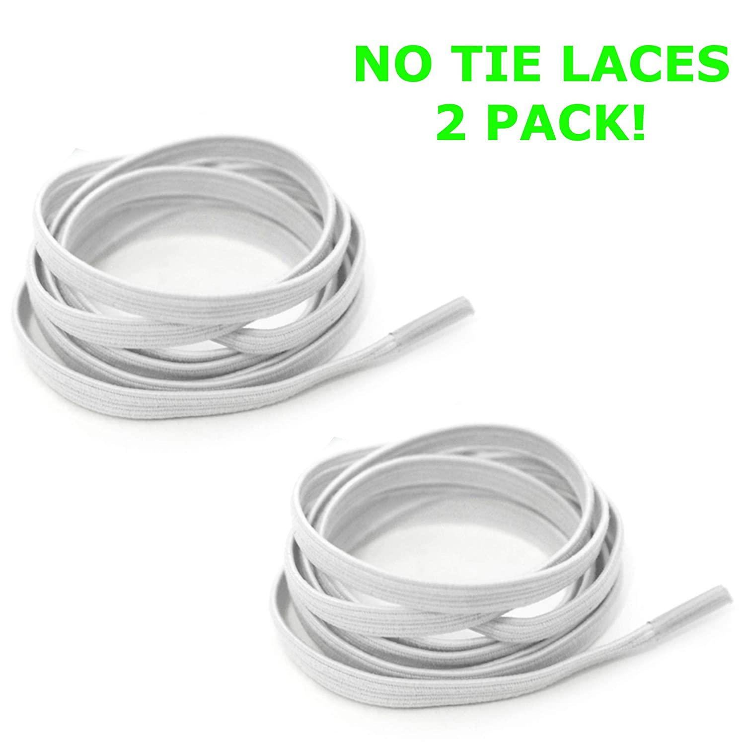 Tieless Elastic Shoelaces 2 Pack | Easy to Install | Great for Kids or Adults | 4 colors | No Tie Silicon shoelaces for Boots Shoes or Trainers | Hidden Laces For Style and Comfort