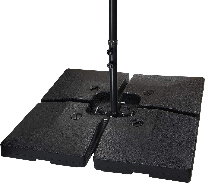 BB Sport Peso de la sombrilla Base para sombrilla 4 Partes por Parasol Base Cruzada Negro 90 litro / 120 kg - para llenar de Agua o Arena