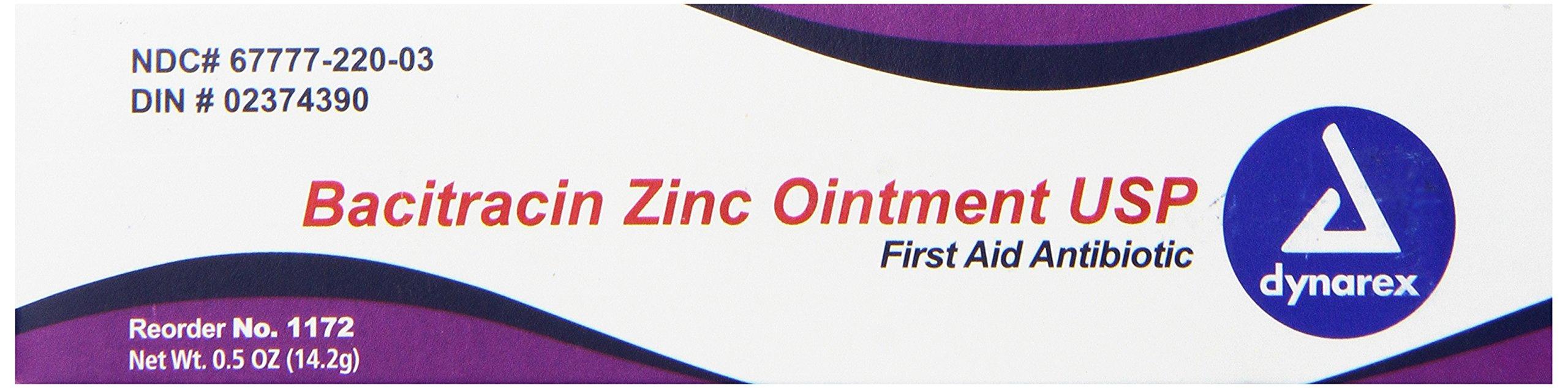 Dynarex Bacitracin Zinc Ointment, 0.5 oz Tube, 72-Count
