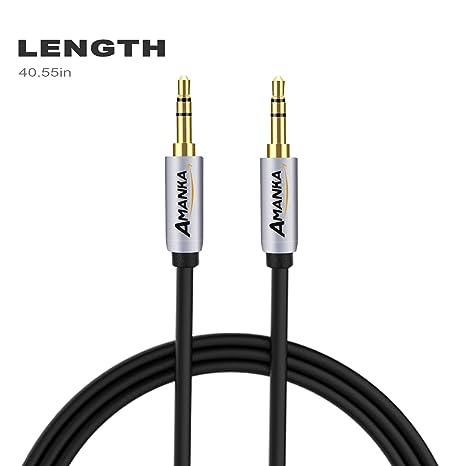 AMANKA Cable AUX 1.2 m 3.5 mm Cable Audio para Smartphones, MP3, ipad,