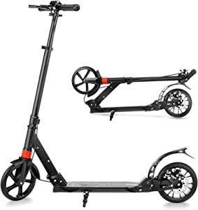 OUTCAMER Scooter for Adults Big Wheel Scooter Folding Design Kick Scooter with Adjustable Height Support 220lbs