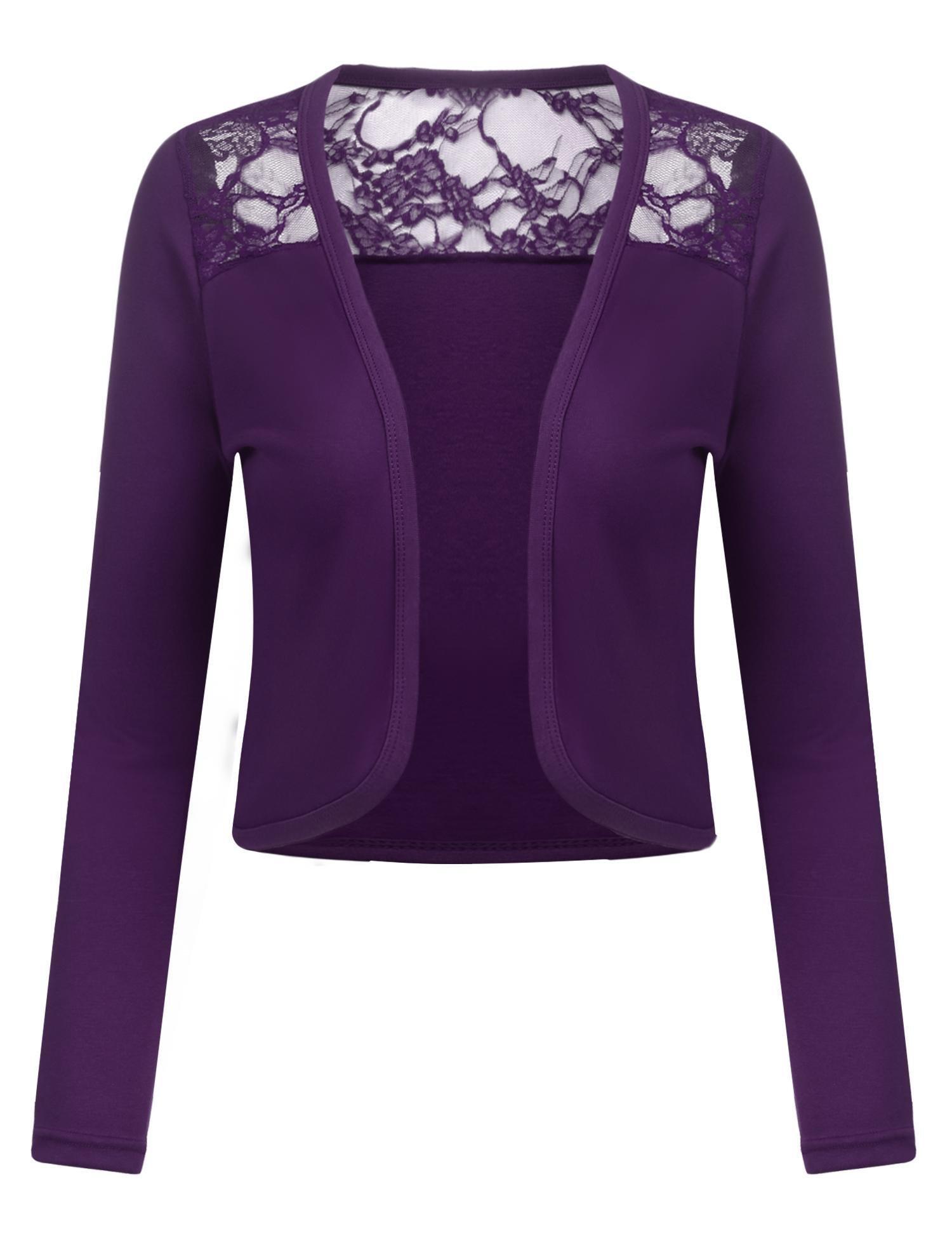 Dealwell Women's Long Sleeve Bolero Shrug Open Front Lace Cropped Cardigan
