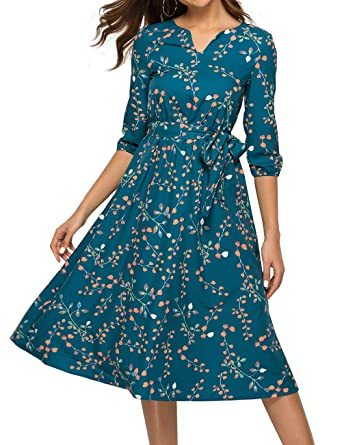 6c4e63571c Simple Flavor Women's Floral Vintage Midi Dress 3/4 Sleeve Casual Work  Flare Dress with Belt at Amazon Women's Clothing store: