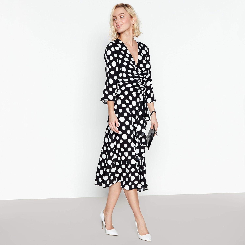 c4780d34df9e3 Debut Womens Black Spot Print Ruffle Midi Shift Dress: Debut: Amazon.co.uk:  Clothing