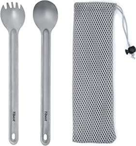 Tibest Titanium Spork Long Handle, Ultra Lightweight Camping Utensil for Backpacking Camping, Hiking, Outdoors