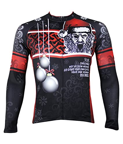 Ilpaladino Men s Long Sleeve Jersey Christmas Pattern Bike Shirts Size XXS a975909c3