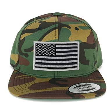 Flexfit Patriotic American Flag Patch Flat Bill Snapback Cap - Camo (One  Size 615ee227034