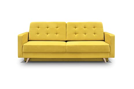 Vegas Futon Sofa Bed, Queen Sleeper With Storage Yellow