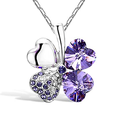 c1e5017957d4 Merdia Cuatro Hojas De Trébol En Forma De Corazón Cristal Colgante Collar  16  quot +