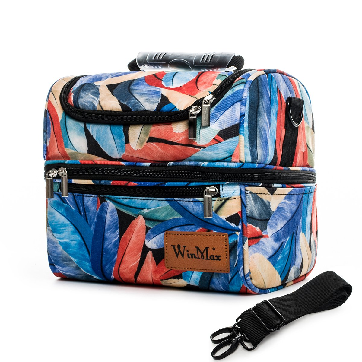 Double Deck Insulated Lunch Bag Men Women Large Tote Cooler Bag Shoulder Strap (Flowers) Winmax