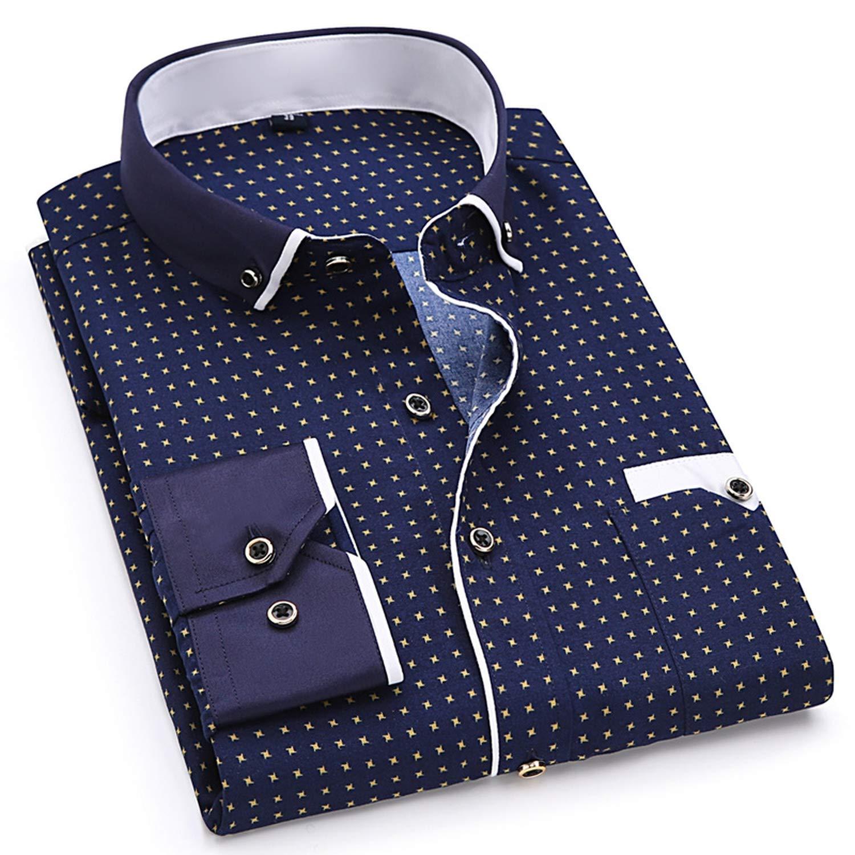 2019 Men Fashion Casual Printed Shirt Slim Fit Male Social Business Shirt,SH215,Asian XXL Label 42