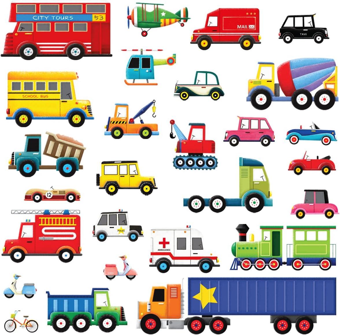 DECOWALL DW-1205 27 Transportes Vinilo Pegatinas Decorativas Adhesiva Pared Dormitorio Sal/ón Guarder/ía Habitaci/ón Infantiles Ni/ños Beb/és