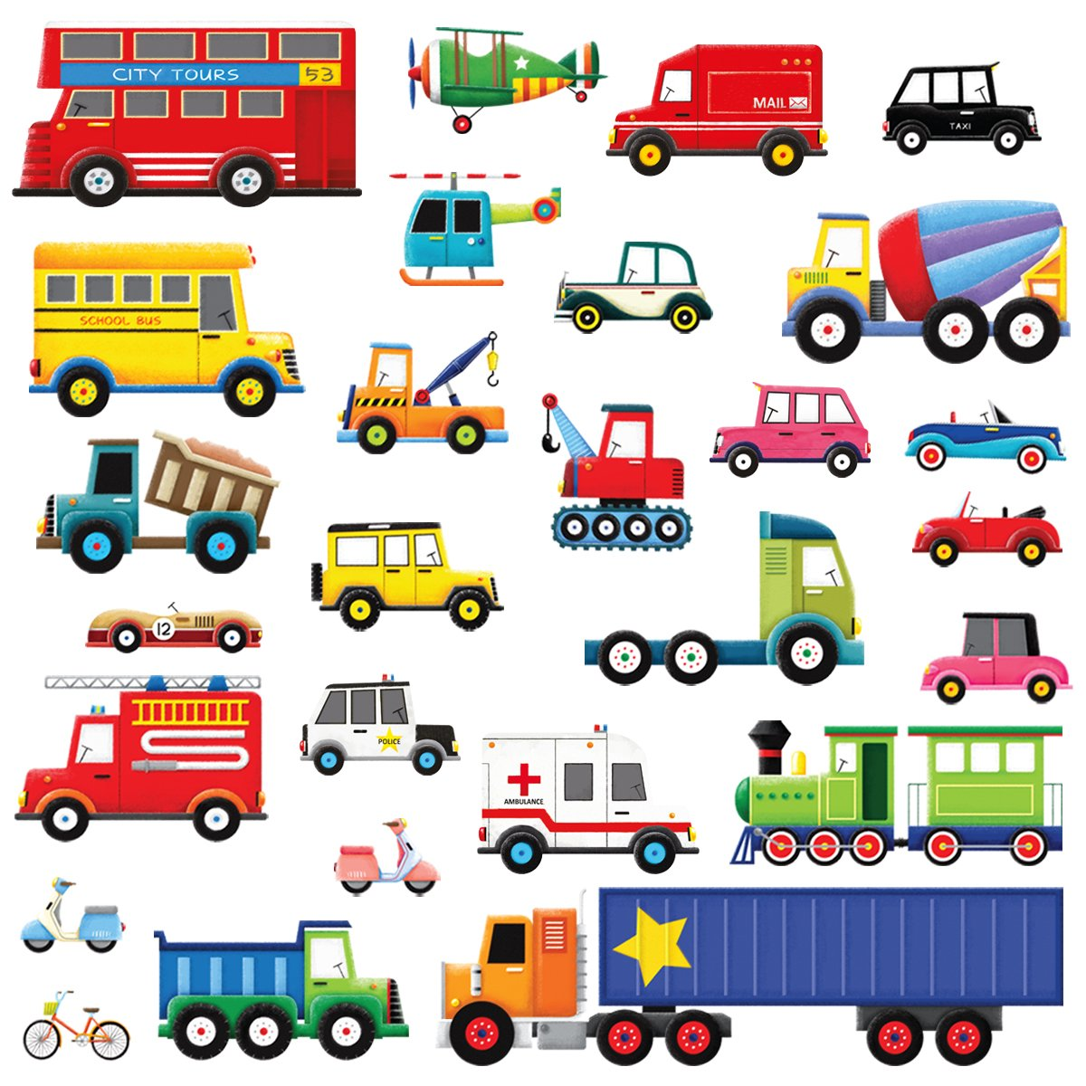 Amazon decowall dw 1204 10 transports and roads kids wall decowall dw 1605 27 transports kids wall decals wall stickers peel and stick removable wall amipublicfo Images