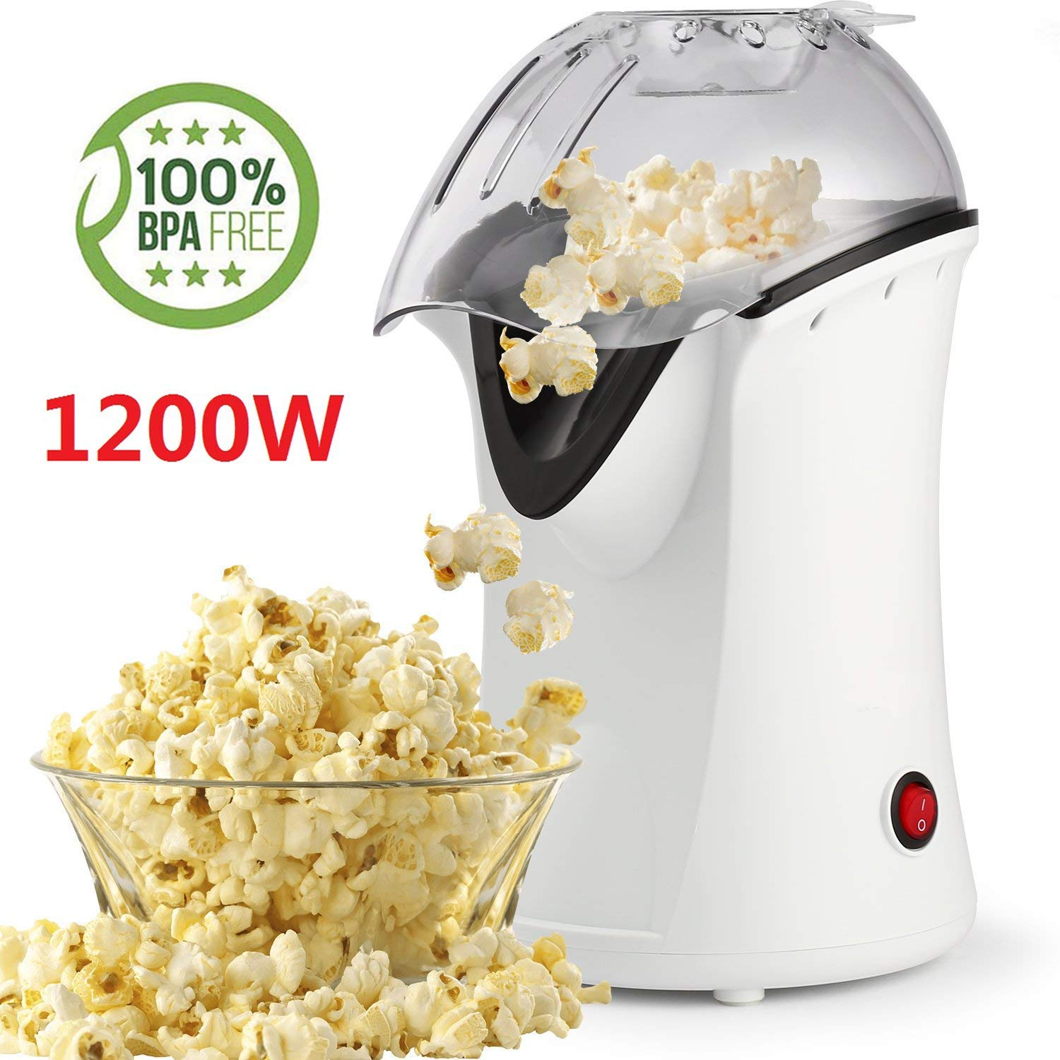1200W Popcorn Machine Electric Machine Maker 4 Cups of Popcorn, Hot Air Popcorn Popper with Wide Mouth Design (US STOCK)