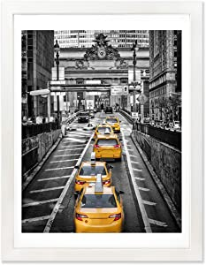 Finefrarm 12x16 White Picture Frame to Display 11x14 Photo with Mat or 12 by 16 Picture Without Mats Picture Frames Wall Art for Living Room Wall Mounting and Tabletop Decor