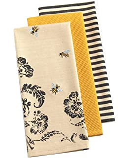Delightful DII Set Of 3 Busy Bee Kitchen Dishtowels With Petite Stripe