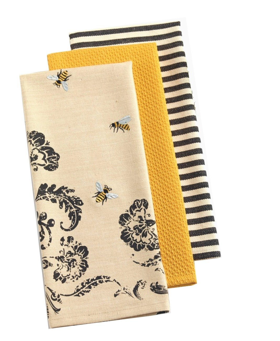 Design Imports India, Dishtowel Busy Bee Printed, 3 Count