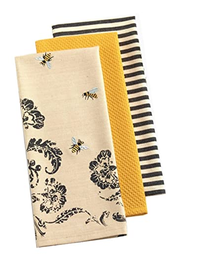 Superieur DII Set Of 3 Busy Bee Kitchen Dishtowels With Petite Stripe