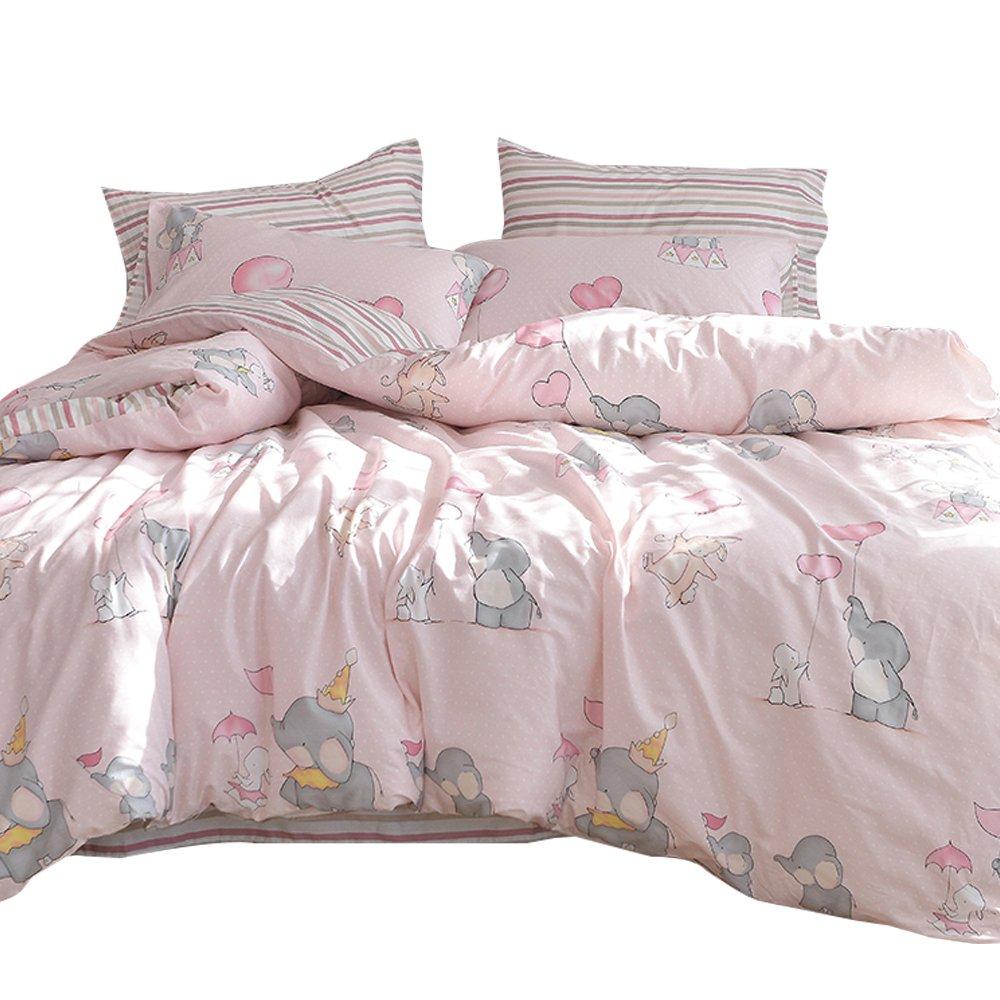 OTOB New Cartoon Animal Rabbit Elephant Print Pink Twin Duvet Cover Set for Girls 100% Cotton Reversible Soft 3 Pieces Kids Teen Bedding Duvet Cover Pillowcases Girls Twin Bedding Sets Striped