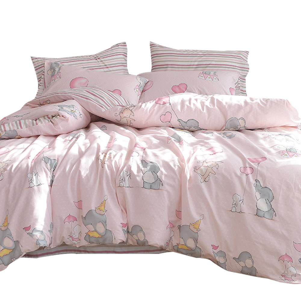 ORoa New Cartoon Animal Rabbit Elephant Print Pink Twin Duvet Cover Set Girls 100% Cotton Reversible Soft 3 Pieces Kids Teen Bedding Duvet Cover Pillowcases Girls Twin Bedding Sets Striped