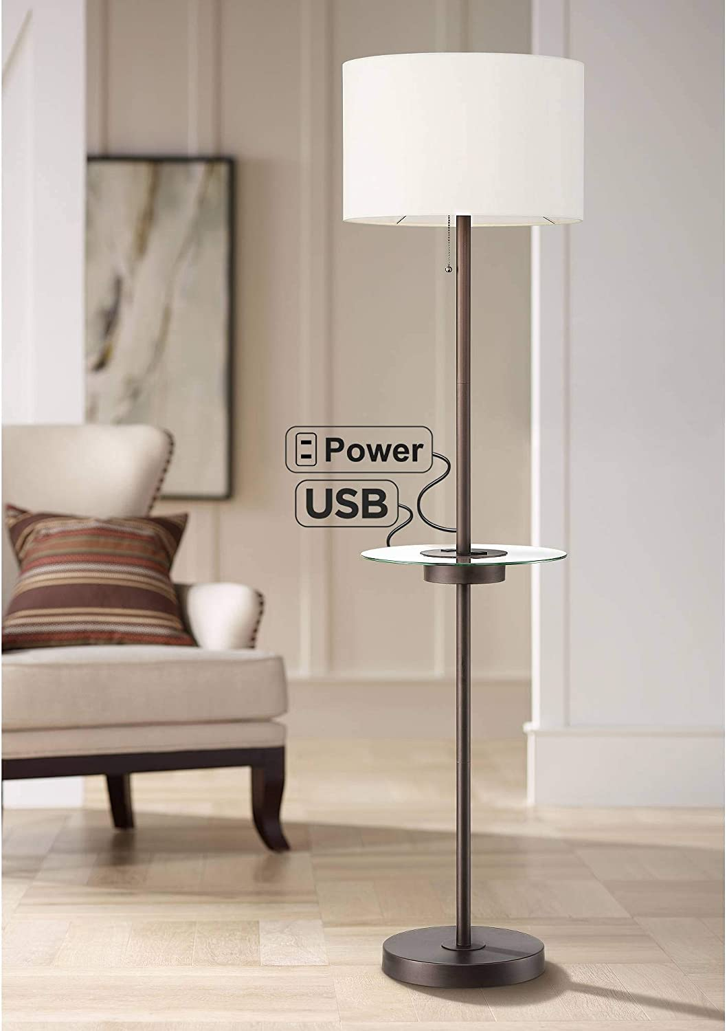 Caper Modern Floor Lamp with Table USB and AC Power Outlet in Base Bronze Metal Off White Fabric Drum Shade for Living Room Reading Bedroom Office - 360 Lighting