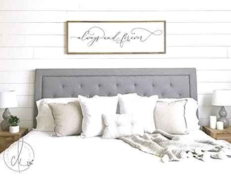 CELYCASY Master Bedroom Sign | Always and Forever Sign | Master Bedroom  Decor | Wall Decor | Bedroom Wall Art | Wood Framed Signs