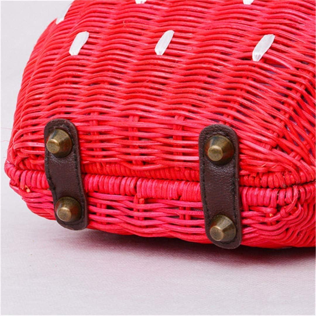 VADFLOD Nuova Borsa di Paglia Borsa in Rattan Borse di Moda tessute pastorali Sacchetto di Fragole del Fumetto Borsa Messicana del Fumetto Red