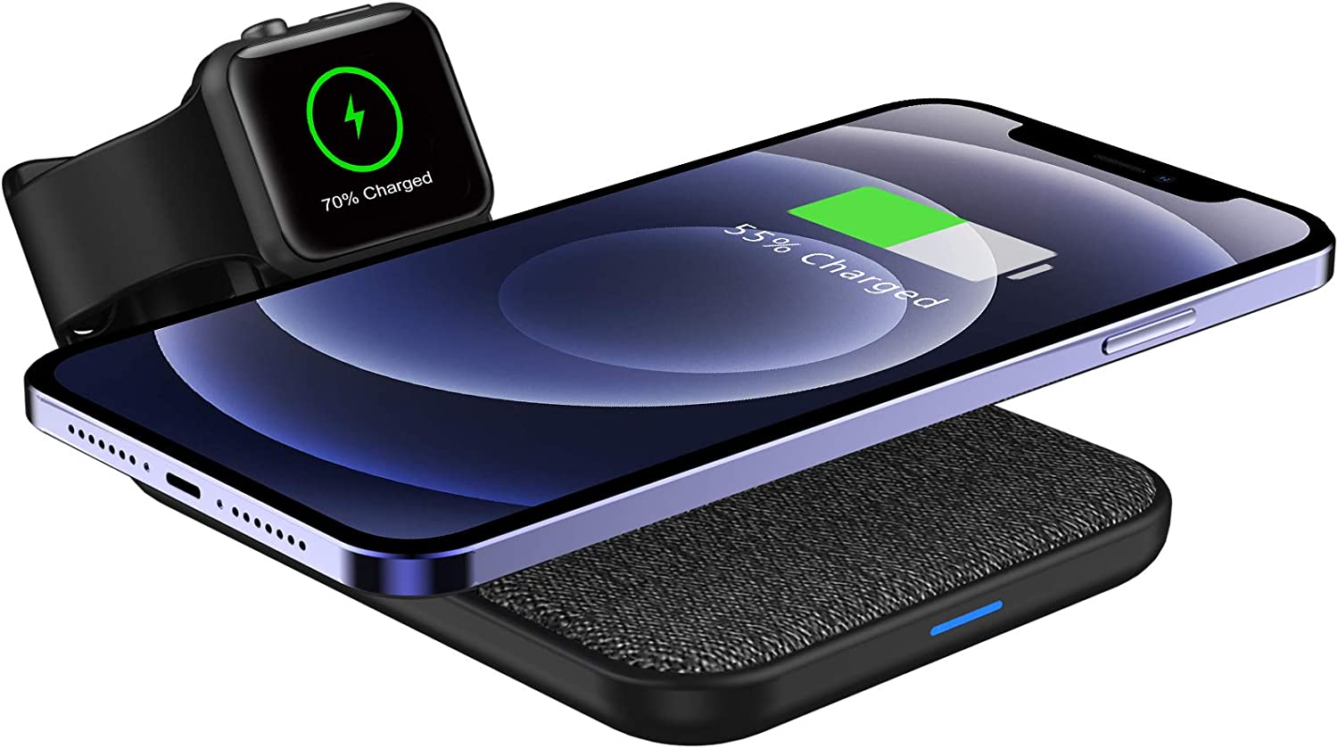 Mangotek 3 in 1 Wireless Charger iPhone Apple Charging Station, MFi Certified Wireless Charging Pad Qi Fast Chargers Stand Dock for iPhone 11/12/11 Pro/SE 2020/XS Max/XR/X/8/8Plus/iWatch/Airpods