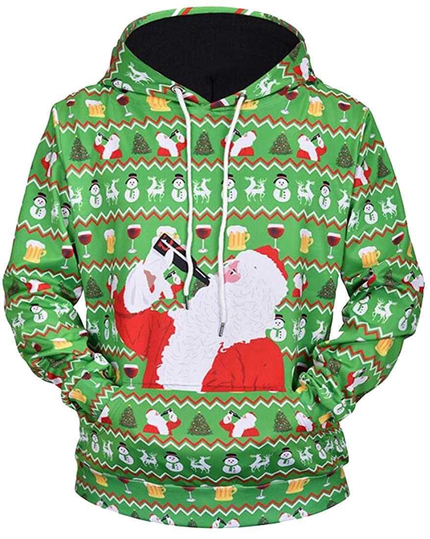 Fubotevic Mens Christmas Loose Fit Couples Dress Floral Printed Knit Pullover Hooded Sweatshirt