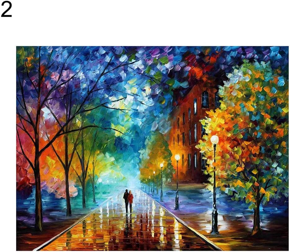 1# Paint by Numbers DIY Oil Painting,yanQxIzbiu Lifetime Love Romantic Street Oil Painting by Numbers Wall DIY Craft Home Decor