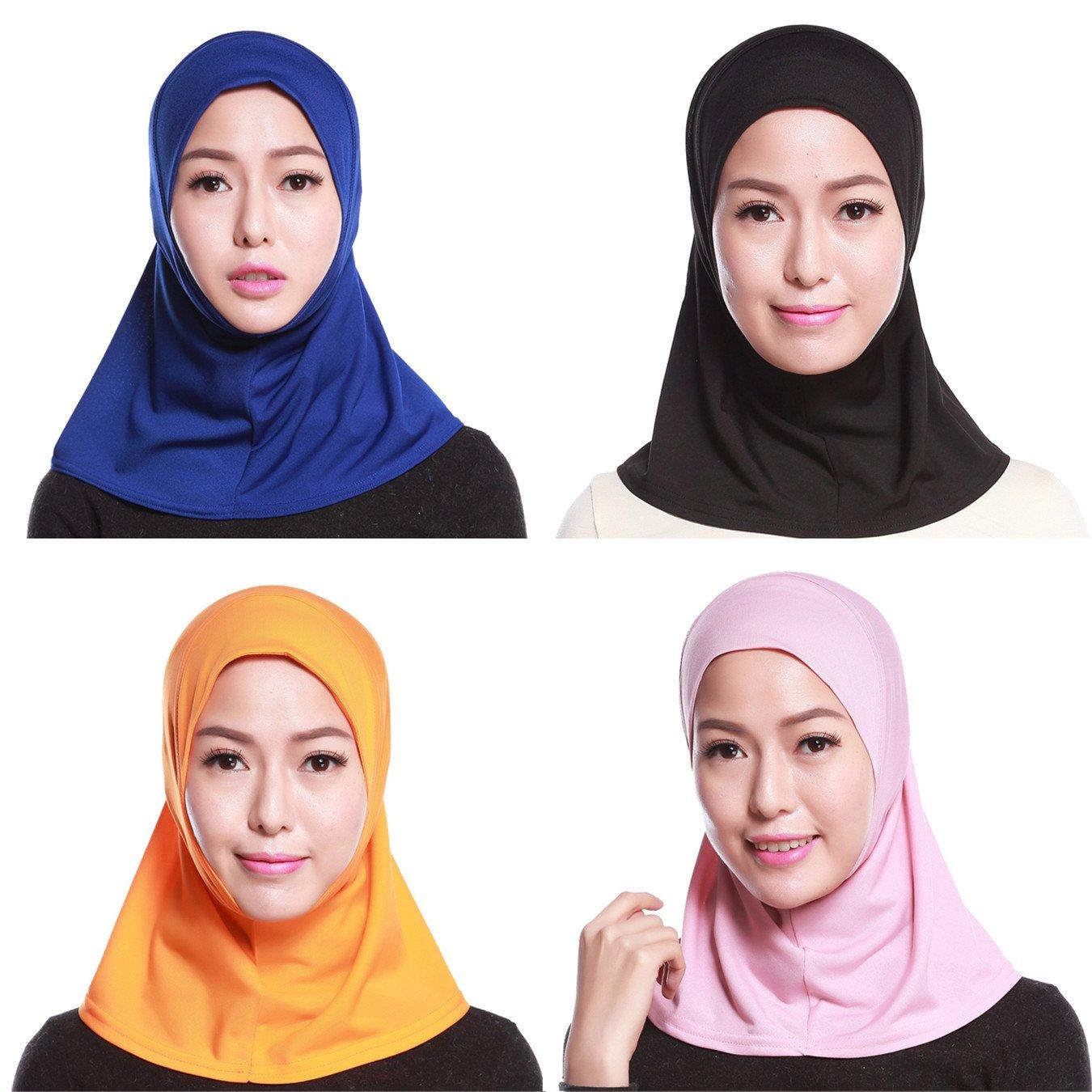 GladThink Delle Donne Musulmane Mini Hijab Caps Sciarpa Islamica 4 Pezzi