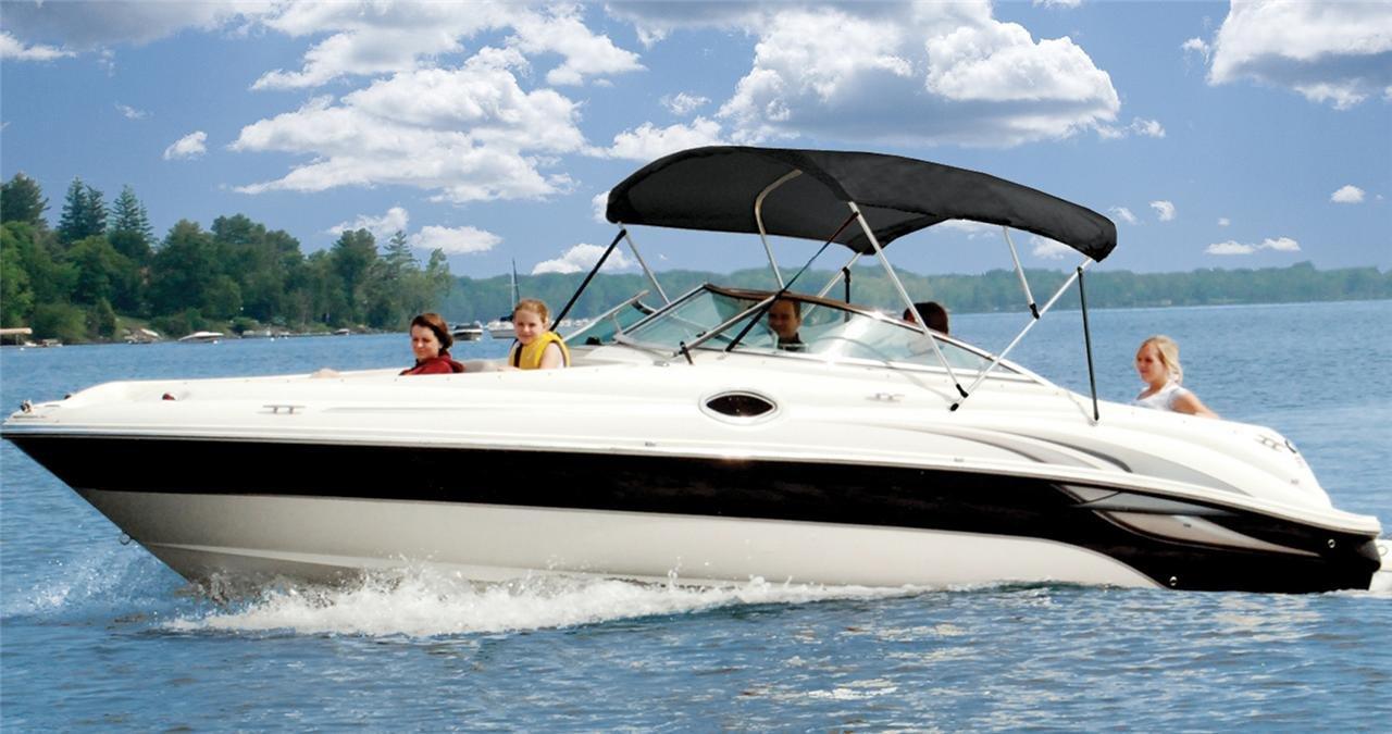 6.25オンス フルボート ビミニトップサンシェードトップセット タホ 195 デッキボート I/O 2006用 ブラック